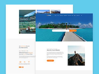 Travel Website Template Design website ui travel retro outdoors nature layout interaface icons homepage badge adventure
