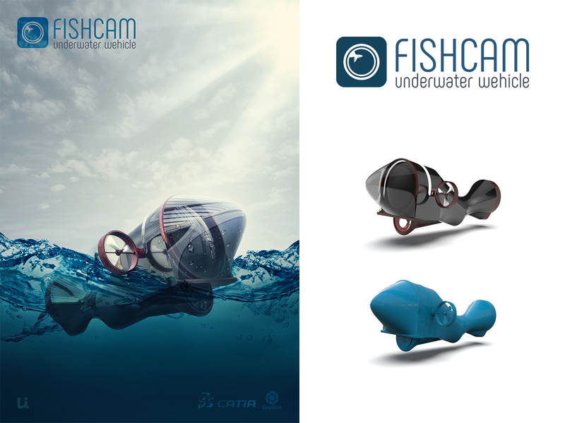 Fishcam Underwater Wehicle yunus ünsal 3d design brand branding keyshot catia underwater wehicle