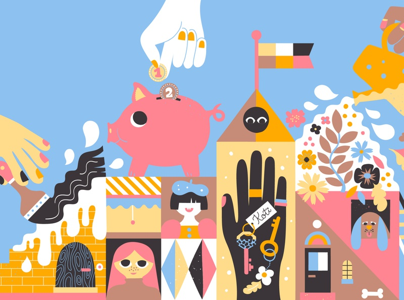 Editorial illustration for M2 magazine scandinavian style positive cute fun color harmony friendly character design magazine illustration editorial art scandinavian colorful illustration leena kisonen flat color