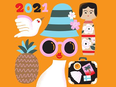 Calendar for 2021 creative kokeshi doll 2021 travel illustration travel color papercut calendar design friendly colorful scandinavian illustration leena kisonen flat color