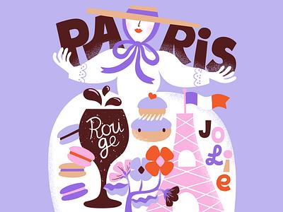 Paris White Lady colorful lettering city illustration scandinavian design female character character pastels french paris travel scandinavian illustration leena kisonen flat color