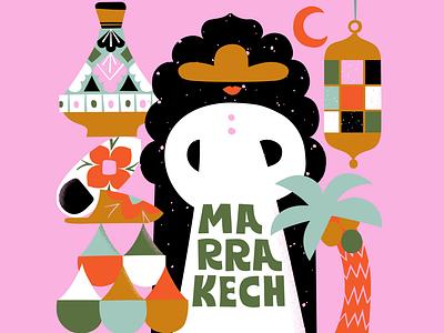 Marrakech Mystery calendar 2021 pink scandinavian design scandinavian style flat style mysterious city illustration travel illustration traveling marrakech friendly scandinavian colorful illustration flat color leena kisonen