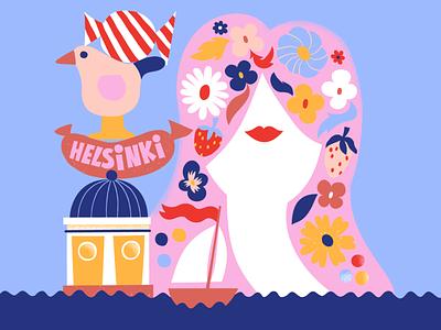 Hello from Helsinki simple color harmony joyful colorful design nature girl illustration cute colorful illustration scandinavian scandinavian design scandinavian style scandinavia finland helsinki leena kisonen flat color