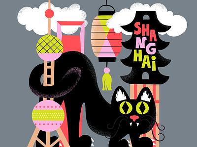 Shanghai Meow meow cute urban urban design fun colorful travel illustration map illustration city illustration cat shanghai scandinavian illustration leena kisonen flat color