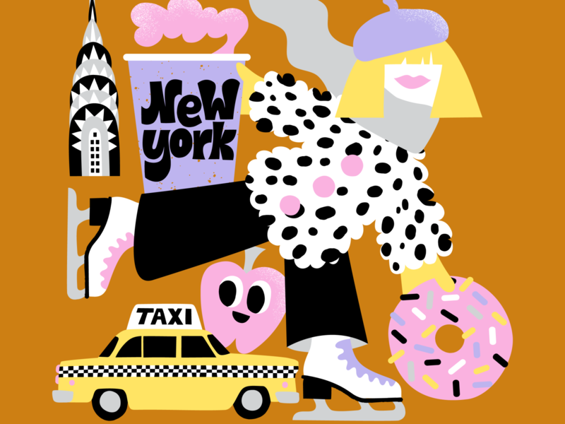 New York Skater color harmony colors doughnut map illustration city illustration travel illustration sweet new york city new york character friendly scandinavian colorful illustration leena kisonen flat color