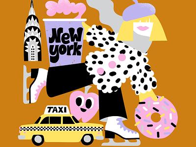 New York Skater color harmony colors doughnut map illustration city illustration travel illustration sweet new york city new york character friendly scandinavian colorful illustration leena kisonen flat color