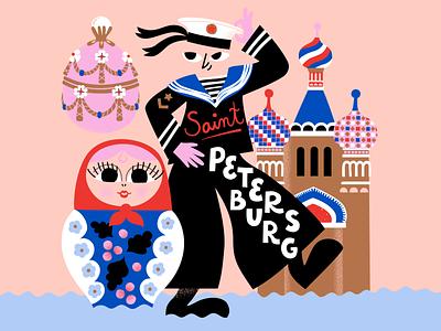 Hello Sailor character pastels cute scandinavian colorful illustration russian doll russia saint petersburg sailor leena kisonen flat color