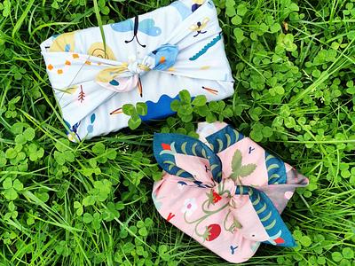 Furoshiki nature colorful packaging wrapper japanese culture japanese design furoshiki pastels scandinavian illustration leena kisonen flat color