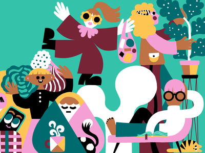 How to survive the polar night in Finland 🇫🇮🌚 cute illustration colorful design color harmony editorial editorial art editorial illustration character characters character design colorful illustration scandinavian leena kisonen flat color