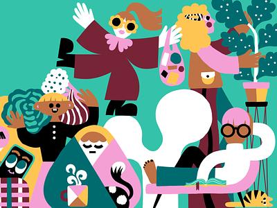 How to survive the polar night in Finland 🇫🇮🌚 cute illustration colorful design color harmony editorial editorial art editorial illustration character characters character design colorful illustration scandinavian leena kisonen flat color