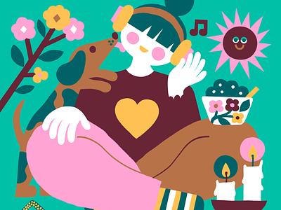 Enjoying the small joys of life color harmony color palette girl illustration girl character sausage dog editorial illustration magazine cover cover illustration cover art pastels colorful illustration stay home wfh scandinavian flat color leena kisonen
