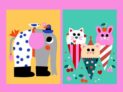Cover art for My Little Tiger in South Korea cover illustration positive flat illustration color harmony bright colors ice cream elephant illustration art colorful illustration colorful design kids illustration cute animals cover artwork cover art friendly scandinavian colorful illustration leena kisonen flat color