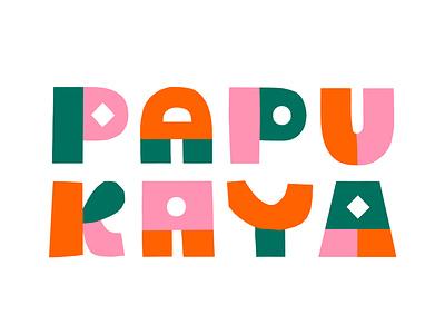 Papercut logo for Papukaya naive fun friendly colorful design colorful logo papercut logodesign logo illustration scandinavian colorful leena kisonen flat color