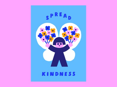 Spread Kindness bright colors color harmony scandinavian style kind icon poster poster art colorful design flat design friendly 70s retro character kindness cute scandinavian colorful illustration leena kisonen flat color
