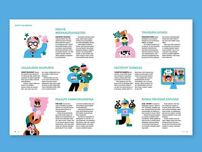 How to be a good neighbour fun magazine illustration editorial illustration colorful cute character friendly scandinavian illustration leena kisonen flat color