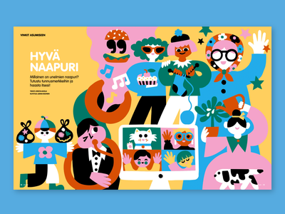 How to be a good neighbour fun magazine illustration editorial illustration colorful cute character friendly scandinavian illustration leena kisonen flat color