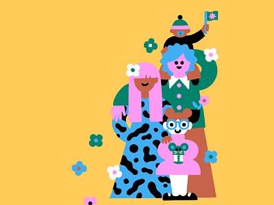 Cover Art for M2 magazine editorial illustration magazine cover magazine illustration cover art friendly character family portrait family scandinavian colorful illustration leena kisonen flat color