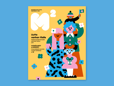 Cover Art for M2 magazine editorial illustration magazine cover magazine illustration cover art friendly character family portrait family scandinavian colorful illustration leena kisonen flat color