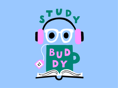 Study Buddy for Givingli retro style scandinavian style color harmony genderaware design genderless anonymous friendly naive style flat style givingli icon study buddy pastels logo scandinavian cute colorful illustration leena kisonen flat color