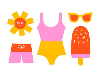 Summer Bits fun flat color sunglasses trunks sun illustration vector elements ice cream swinsuit summer