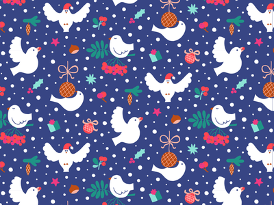 Winter Birds holidays nature colorful repeat pattern illustration flat color flat christmas birds pattern gift wrap pattern design