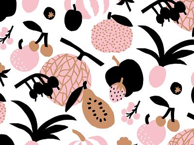 Harvest Pattern japan pattern design pastels colorful fruity nature pattern illustration leena kisonen flat color