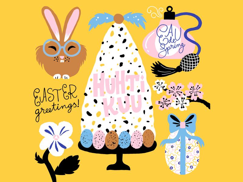April fun art bunny calendar 2020 cute pastels friendly easter colorful illustration leena kisonen flat color april