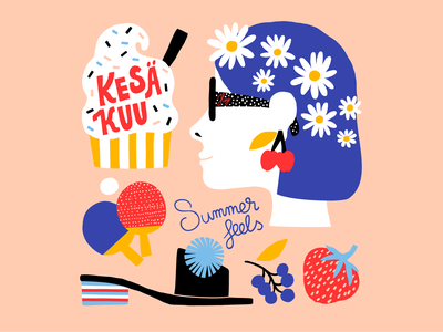 Summer please! june calendar illustration calendar 2020 sweet fun ice cream pingpong profile summer happy friendly pastels colorful illustration leena kisonen flat color