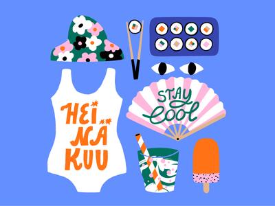 Swimming and sushi scandinavian heat summer sweet happy cool colors sushi fan swiming cute colorful 2020 calendar 2020 july friendly fun pastels illustration leena kisonen flat color