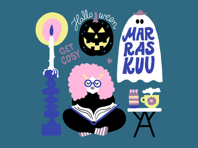 November Ghost naive wall calendar 2020 calendar dark background character design friendly seasonal november spooky character girl character reading candle ghost halloween colorful illustration leena kisonen flat color