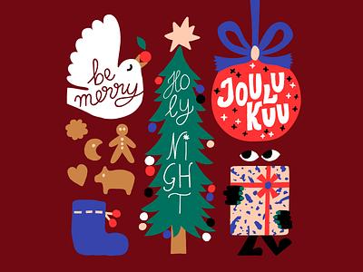 Be Merry harmony red color cookies christmas tree 2020 calendar christmas xmas seasonal seasons greetings flat vector artwork vector character friendly cute colorful illustration flat color leena kisonen