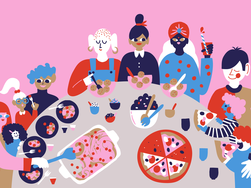 Eating together fun scandinavian cute kitchen pizza people illustration character design happy editorial illustration friendly character colorful illustration multicultural food illustration home eating food and drink leena kisonen flat color