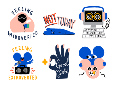 Stickers for Atlassian character design character slack atlassian communication work extrovert introvert fun lettering mouse icon artwork friendly cute colorful sticker design sticker illustration leena kisonen flat color