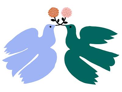 Together is better minimal illustration naive flying flowers scandinavian motif happy flowers illustration sweet scandinavian style flat style flat illustration nature birds cute pastels colorful illustration leena kisonen flat color
