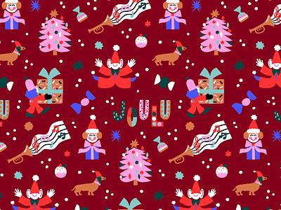 Xmas Joy christmas tree dog christmas pattern gift wrap pattern pattern design scandinavian friendly flat style flat illustration lettering xmas christmas character cute fun colorful illustration leena kisonen flat color