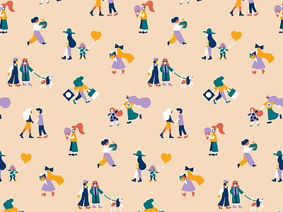 Helsinki Girls walk helsinki cute minimal scandinavian style female character scandinavian color harmony flat illustration pattern design happy friendly pattern pattern art character pastels colorful illustration leena kisonen flat color