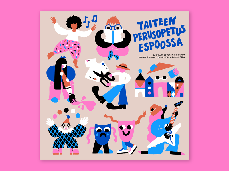Brochure for the City of Espoo teens educational vector illustration color palette flat illustration brochure brochure design kids illustration fun education art happy scandinavian character design character friendly colorful illustration leena kisonen flat color