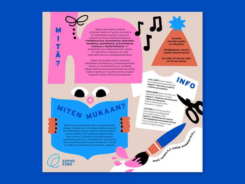 Brochure for the City of Espoo part 2 vector design flat illustration color harmony teens kids kids illustration happy brochure brochure design fun character character design friendly scandinavian cute colorful illustration leena kisonen flat color