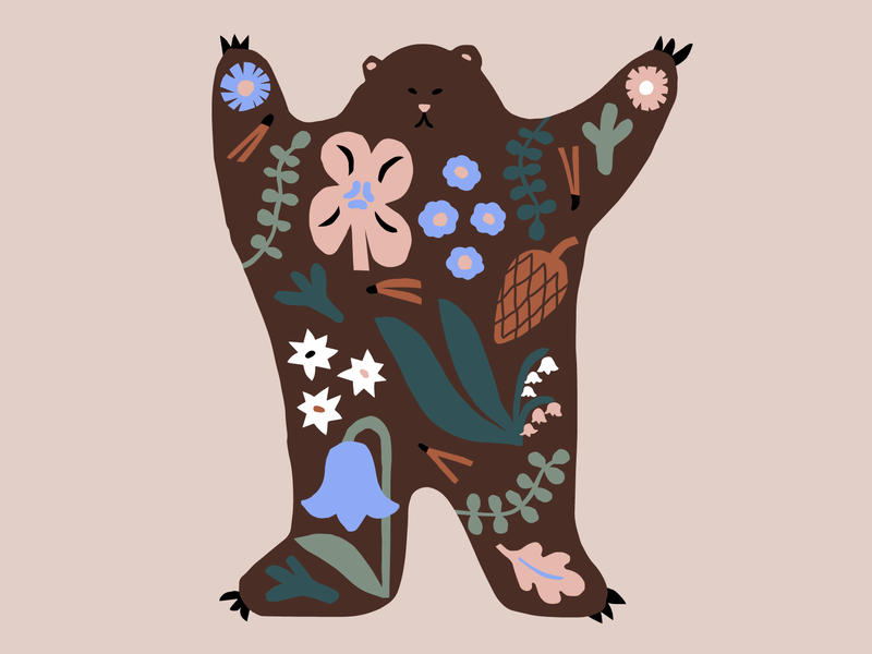 The Dancing Bear scandinavian style papercut naive character flat illustration brown flowers color harmony friendly character design bear animal illustration nature scandinavian pastels cute colorful illustration leena kisonen flat color