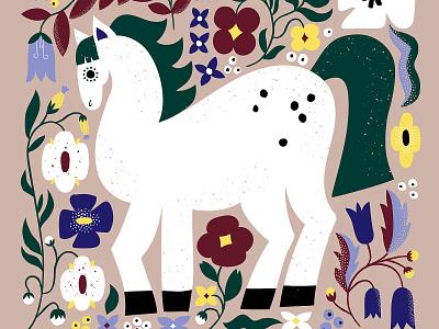 Ride the white horse flat illustration horse florals floral nature friendly scandinavian pastels colorful illustration leena kisonen flat color