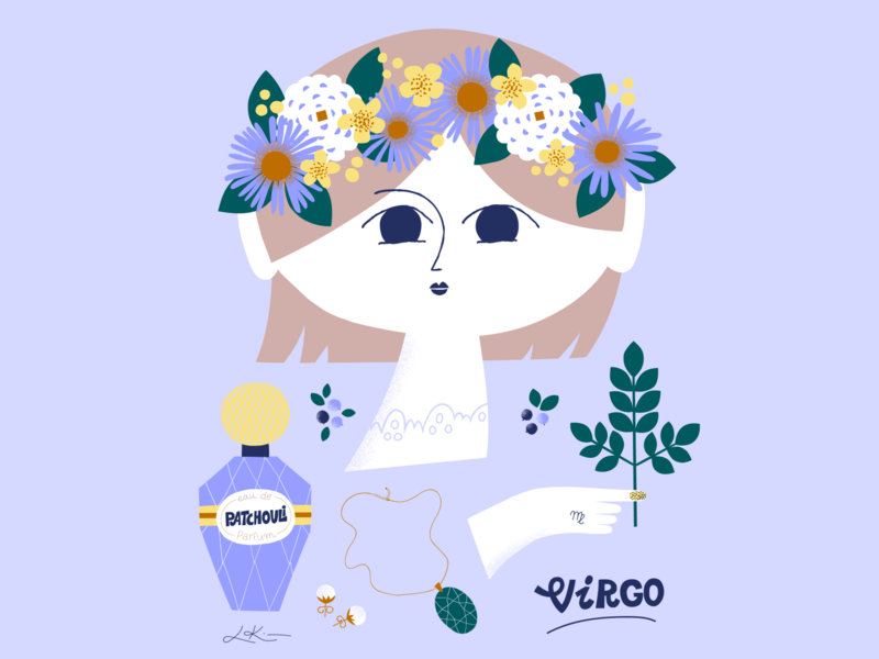 The Virgo season is on horoscope zodiac signs virgo zodiac sign zodiac sweet scandinavian character design character friendly pastels illustration leena kisonen flat color