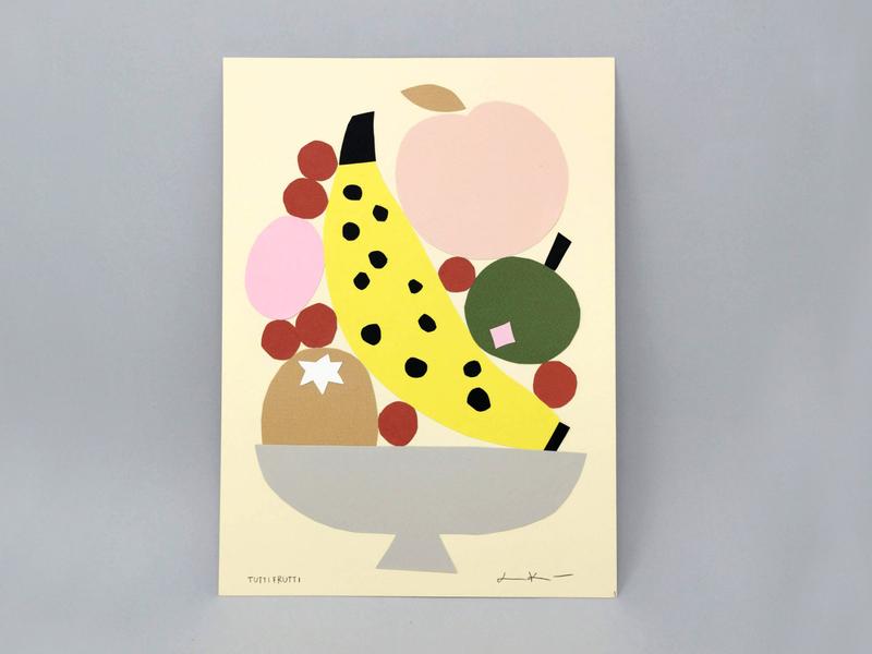 Tutti Frutti friendly pastels fruity fruits paper art fruit illustration cute scandinavian illustration papercutting papercut leena kisonen flat color