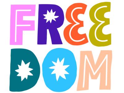 Freedom Sticker for Snapchat fun friendly letters lettering freedom snapchat digital sticker sticker design sticker scandinavian colorful illustration leena kisonen flat color