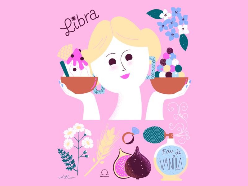 Libra Season girl character balancing pink poster art horoscope zodiac libra girl illustration girl character scandinavian friendly colorful illustration leena kisonen flat color
