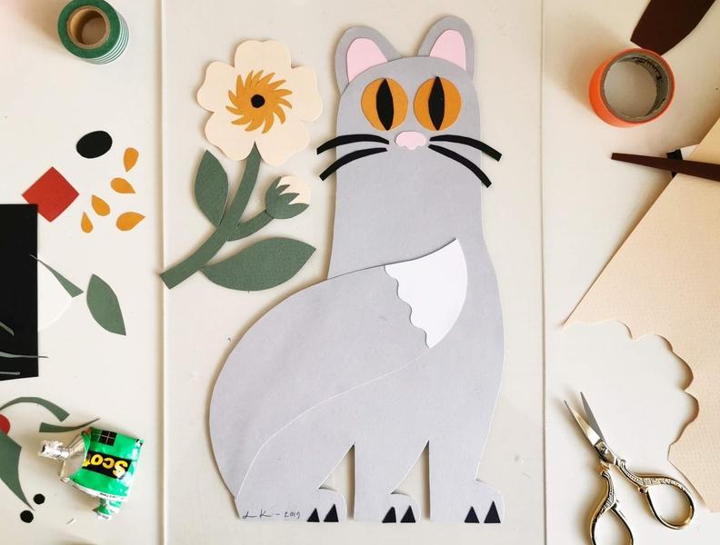 Paper Cat colorful flat color 2d paper art handmade animal cute papercraft papercut cat scandinavian pastels illustration leena kisonen