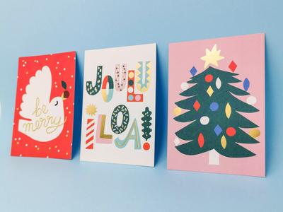 New Xmas cards bird illustration christmas tree finnish lettering christmas card christmas illustration xmas 2019 xmas card gold foil cute scandinavian illustration leena kisonen flat color