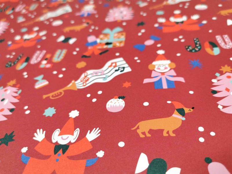 Xmas gift wrap red wrapping paper gift wrap flat style flat illustration lettering dachshund friendly cute scandinavian illustration flat color leena kisonen pattern design pattern christmas tree xmas christmas