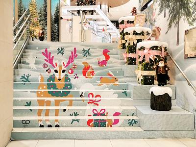 Illustrated staircase for Meitetsu department store xmas christmas illustration animals illustrated illustration art staircase animals nature scandinavian colorful illustration leena kisonen flat color