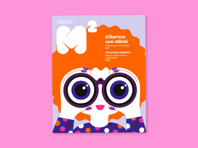 Cover for M2 magazine fun girl character cover cover artwork magazine illustration cover illustration friendly scandinavian colorful illustration leena kisonen flat color