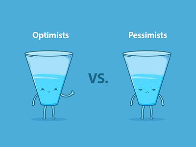 Optimism vs Pessimism water pessimistic optimistic illustration